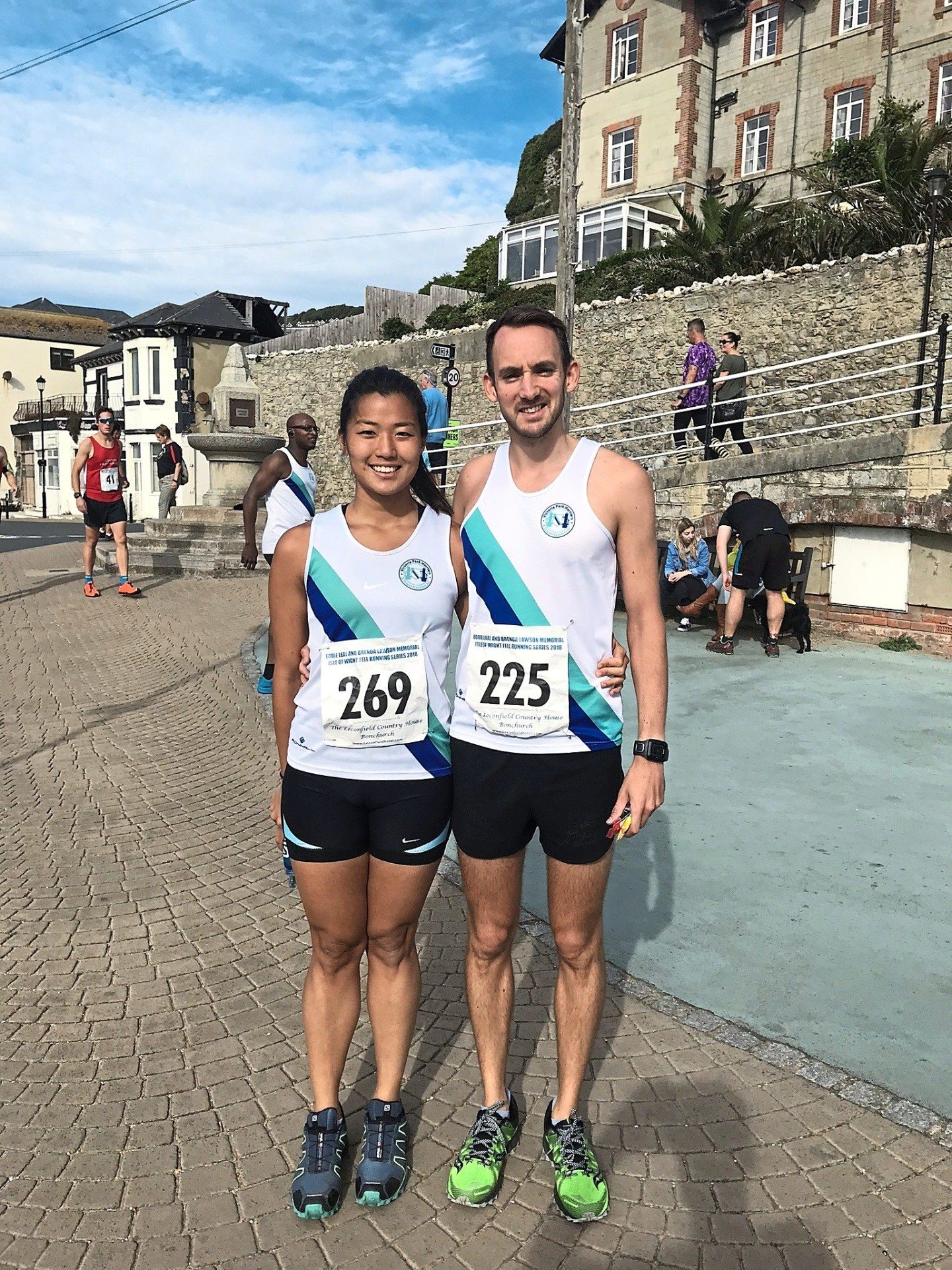 Alison's biggest supporter is her husband, Matt Walker, who is also an avid runner. They are seen here at The Isle of Wight Fell Race, Britain in Sept 2017.