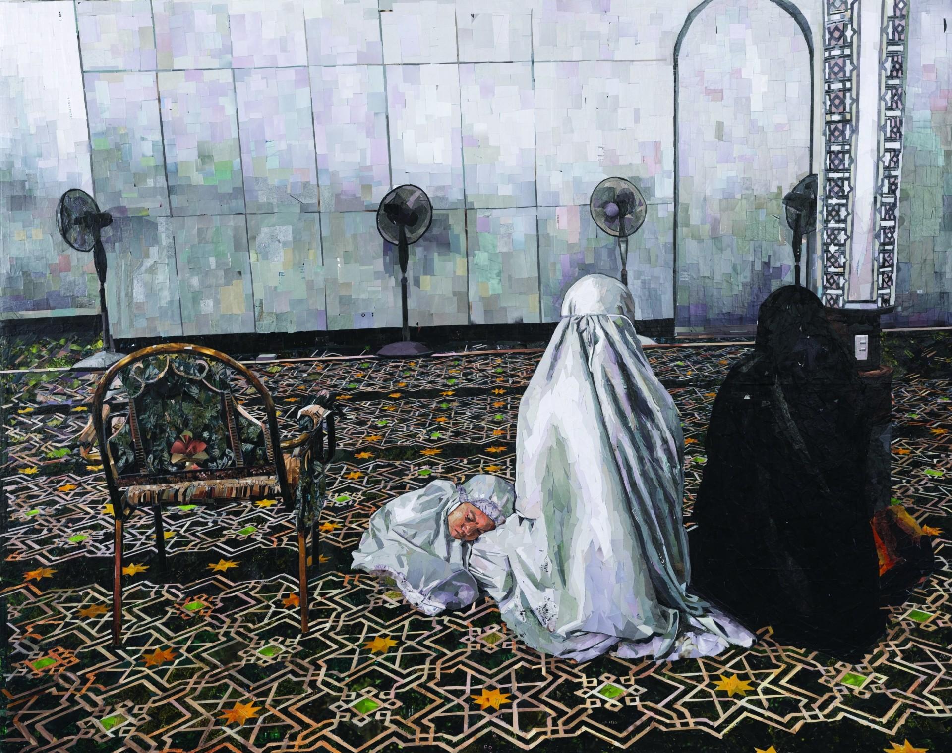 Anisa Abdullah's 'Ketika Berdoa' (collage paper on canvas, 2019). Photo: Segaris Art Center