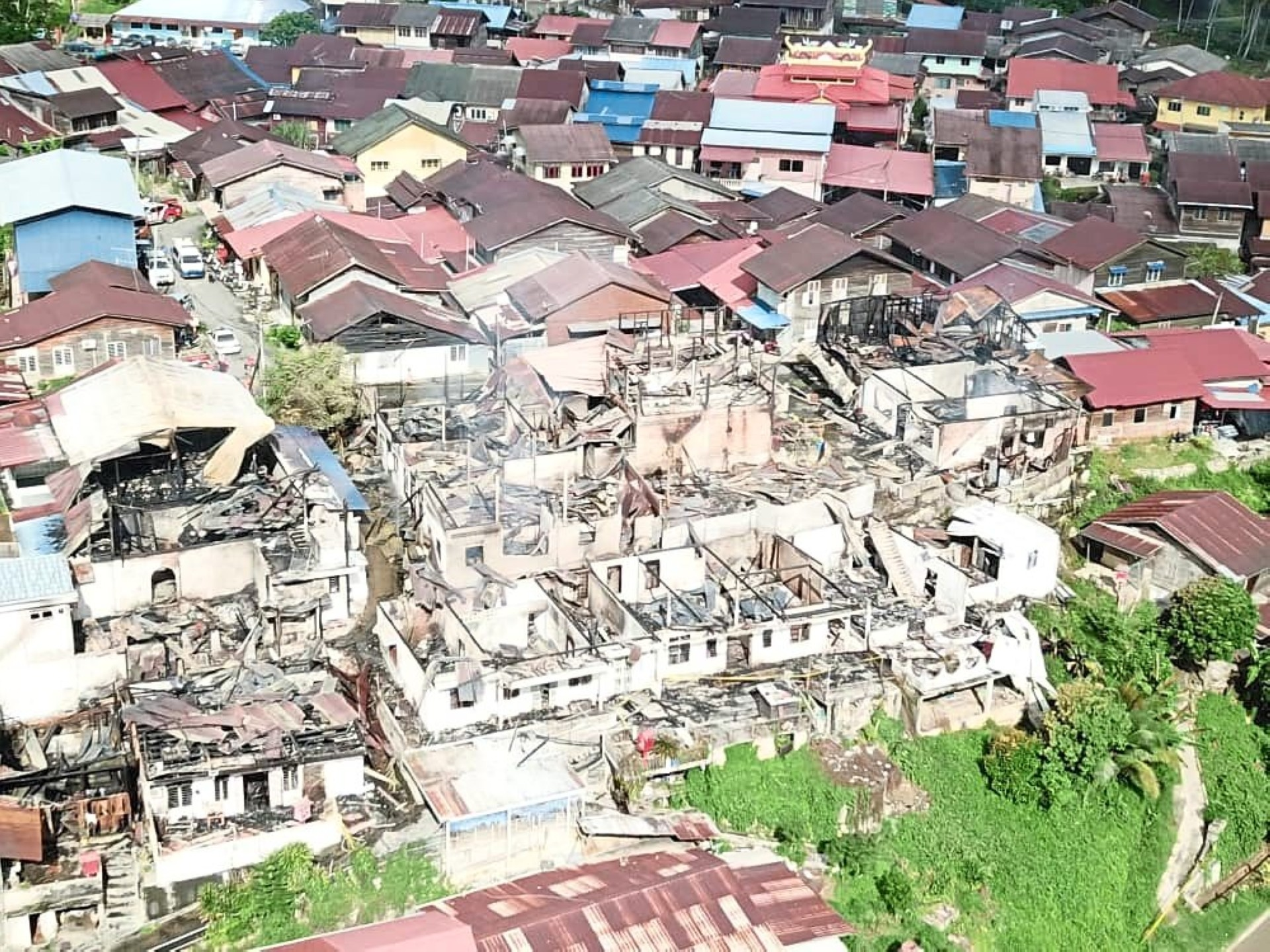 An aerial view of the houses destroyed in the fire.