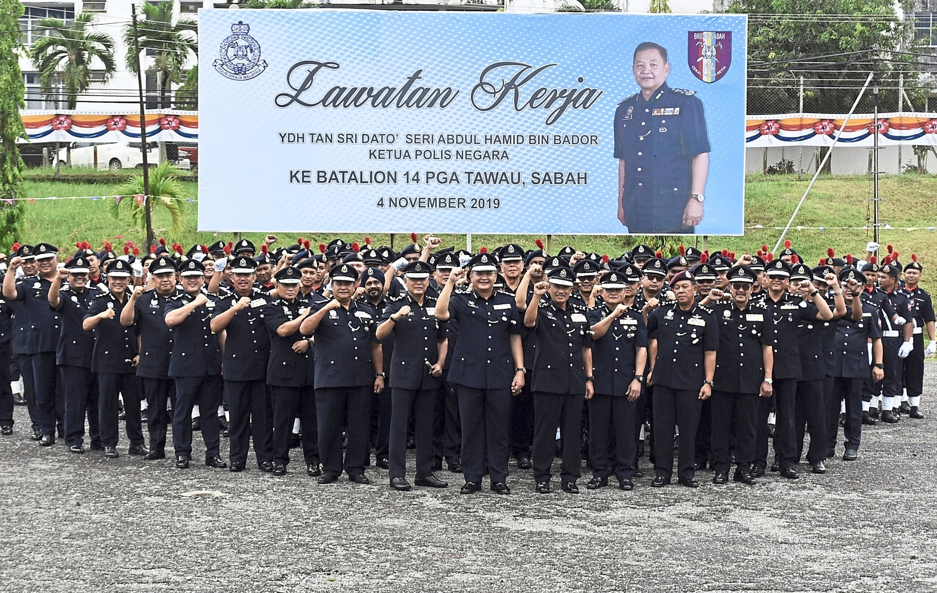 Front and centre: Abdul Hamid with the 14th battalion of the General Operations Force in Tawau. — Bernama
