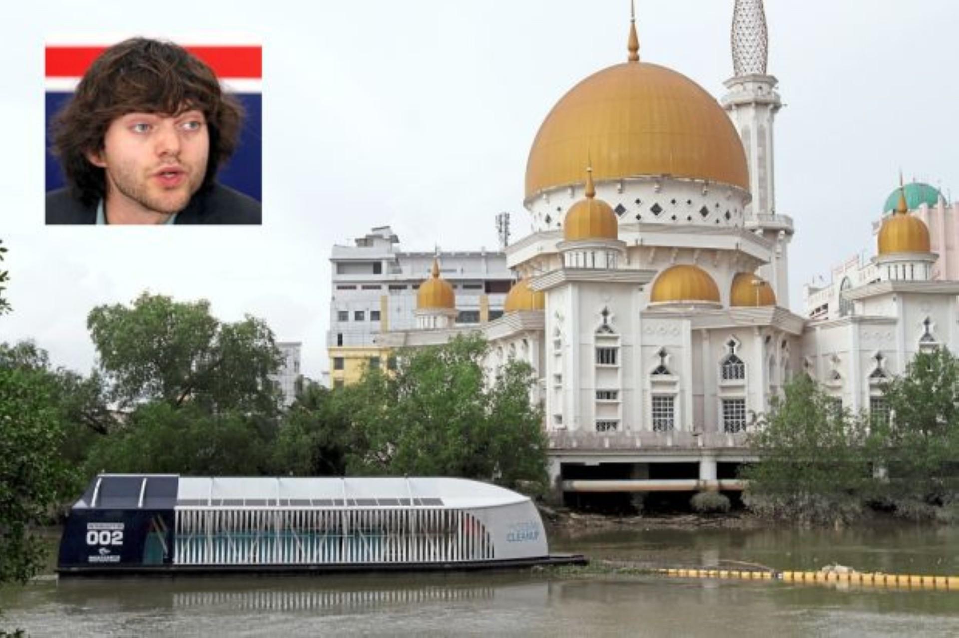 Mega sweeper: Dutch designed trash interceptor moored on Sungai Klang behind the Masjid Bandar Diraja Klang and (inset) Slat, the contraption inventor.