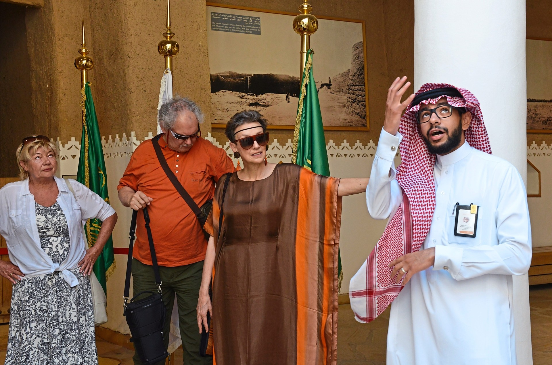 A Saudi tour guide taking some tourists around Riyadh. In September, Saudi Arabia relaxed its visa rules to allow more visitors into the kingdom. — AFP Relaxnews
