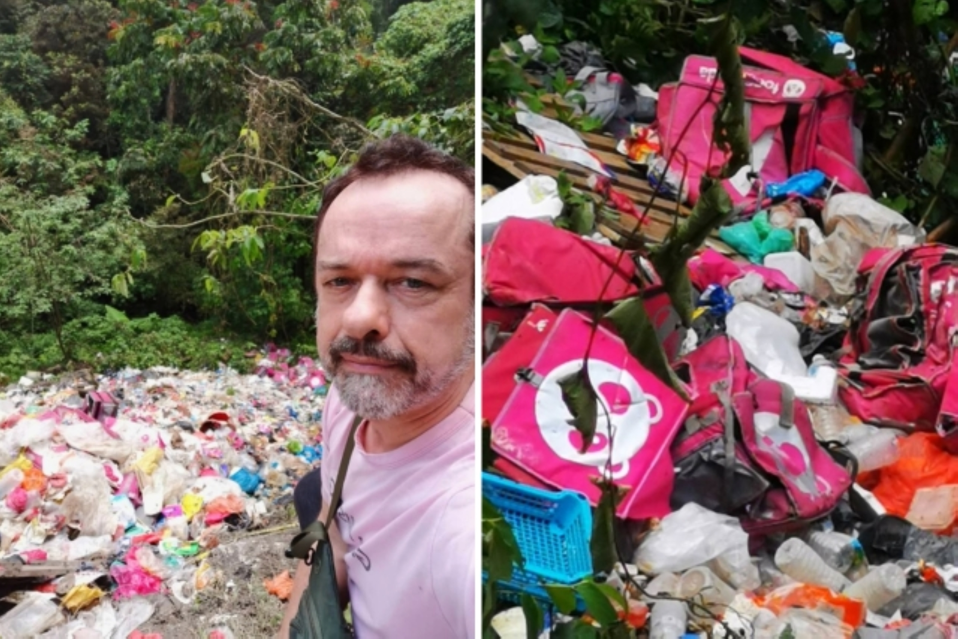 Hickson (left) discovered the many bags bearing the Foodpanda logo at an illegal dumpsite in Gombak. - Photos courtesy of Prof Dr Andy Hickson.