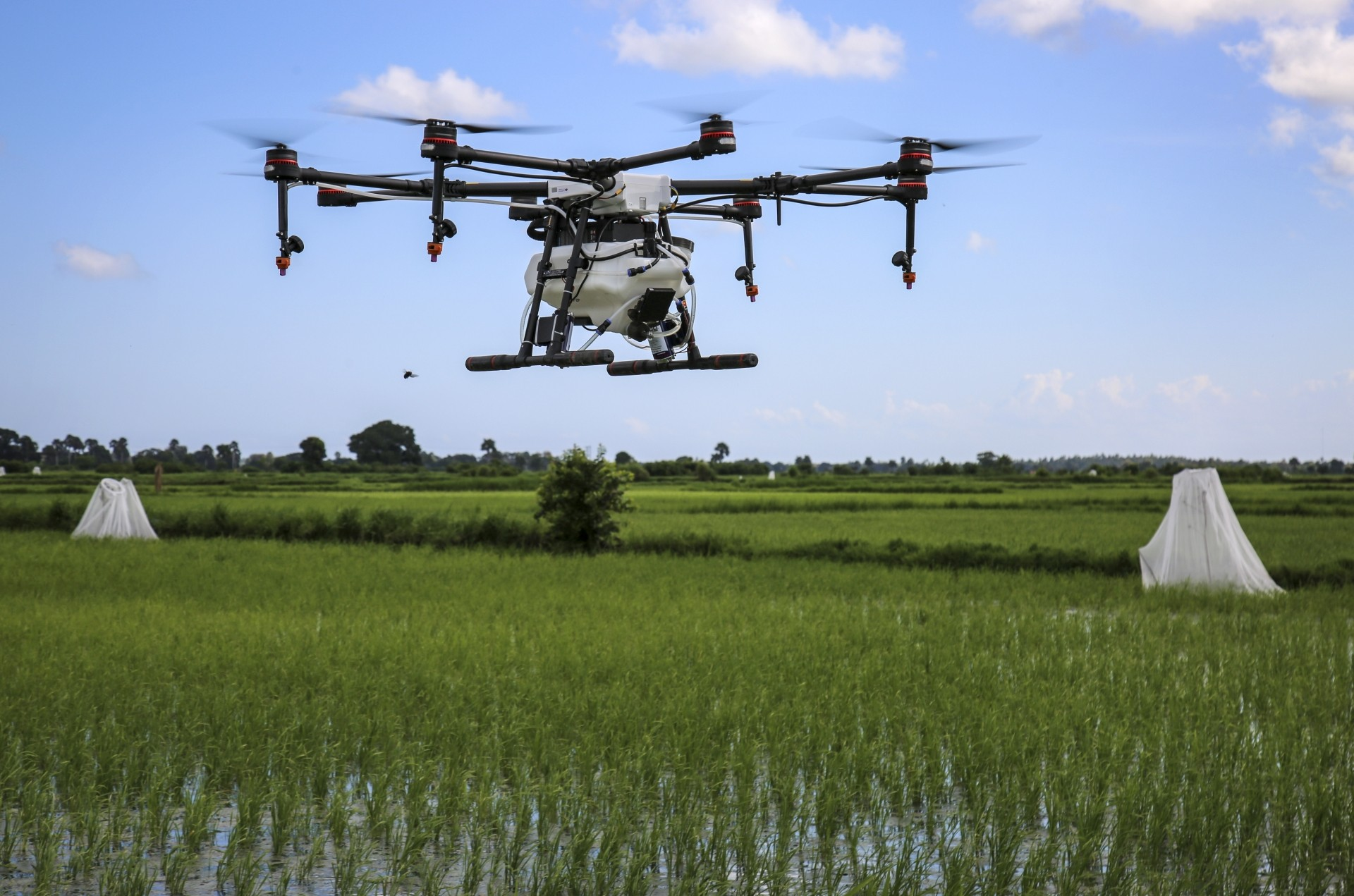A drone spraying the breeding grounds of malaria-carrying mosquitoes is tested at Cheju paddy farms in the southern Cheju region of the island of Zanzibar, Tanzania.