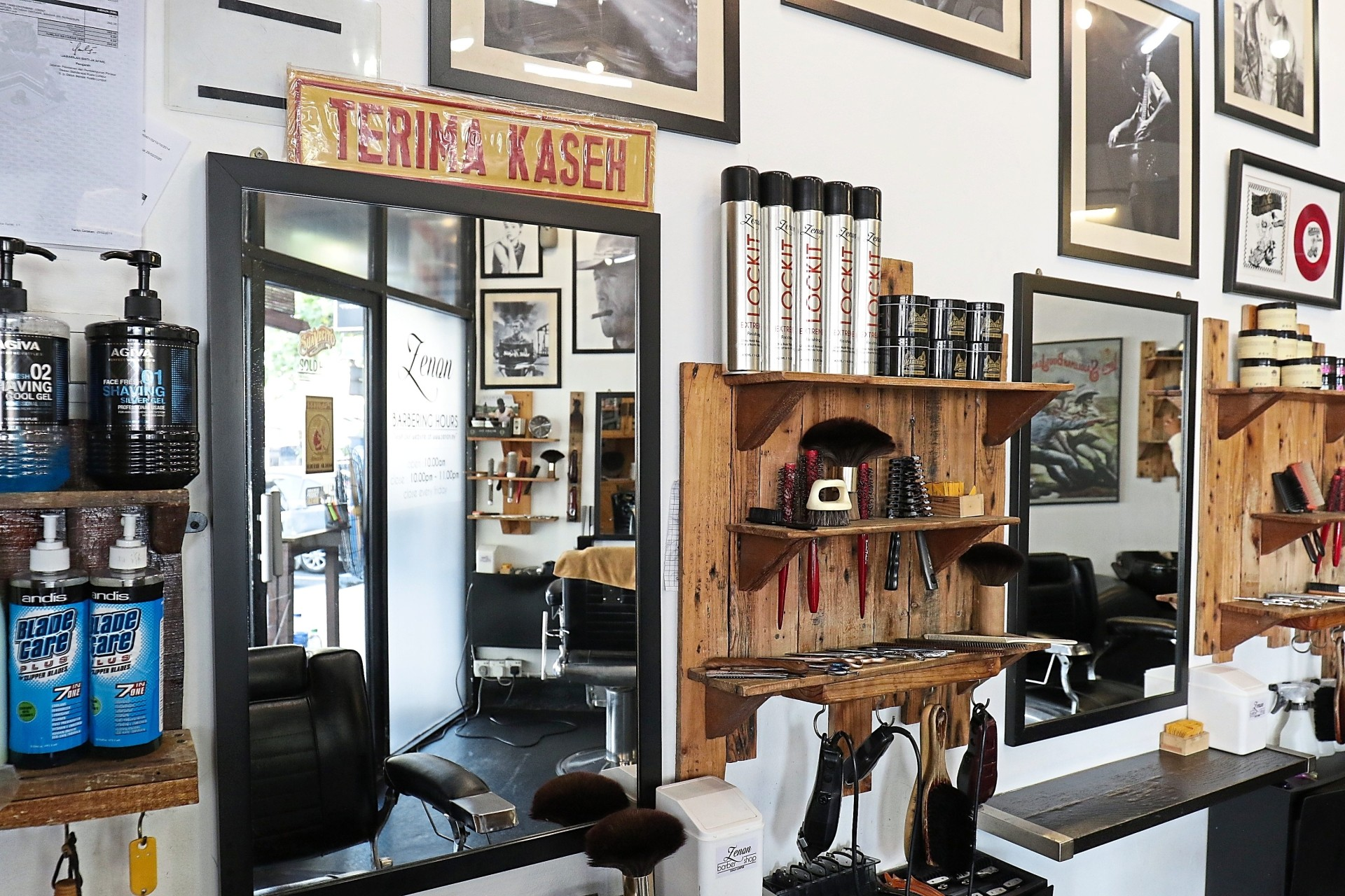 Zenon Barbershop offers their own in-house brand of hair products, namely the F&ZE Styling and Zenon LockIt Spray. Photo: FAIHAN GHANI/The Star