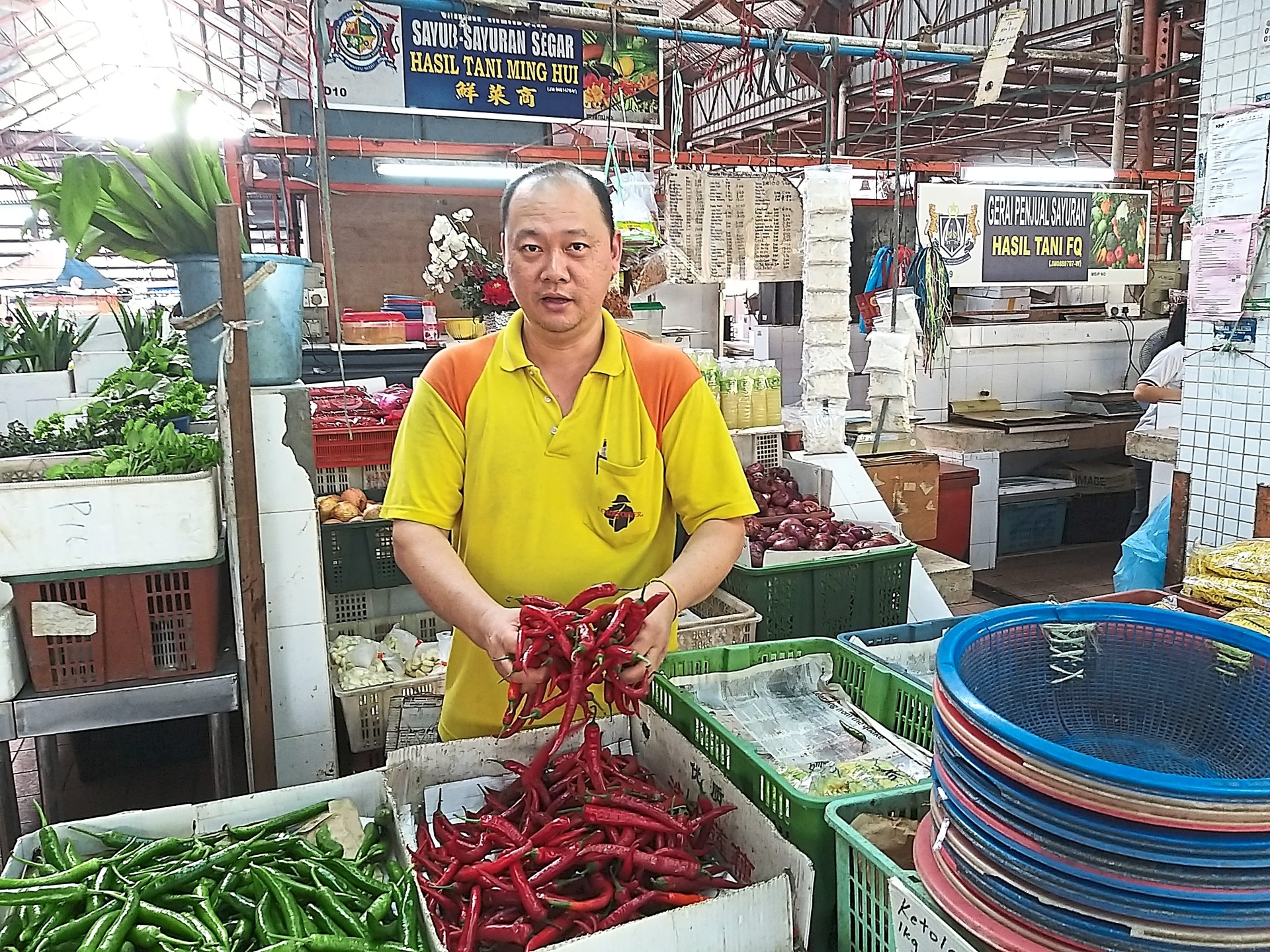 Ah Wee: Customers prefer local fresh chillies although they have to pay more compared to imported ones.
