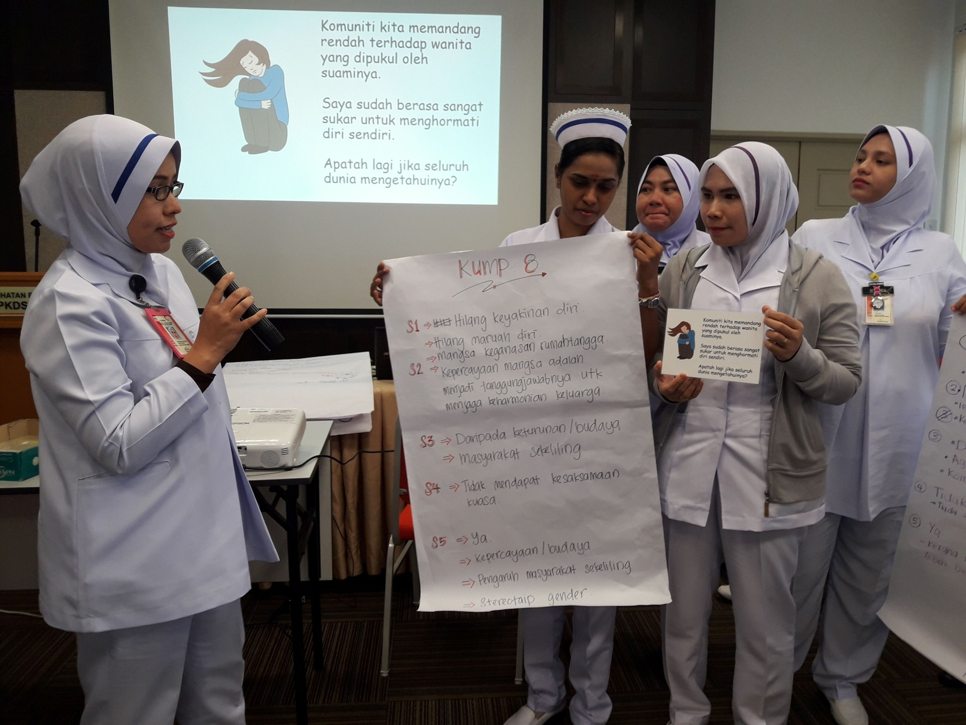 Community clinic nurses at a WCC training on handling domestic violence cases.