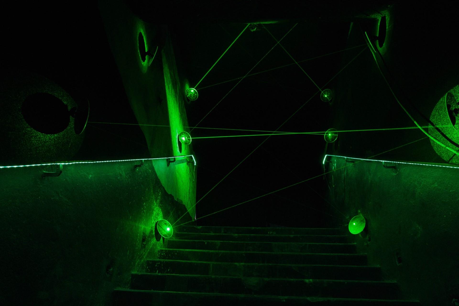 Jun Ong's Quantum (laser light, mirrors, 2019). Photo: Helios Loo