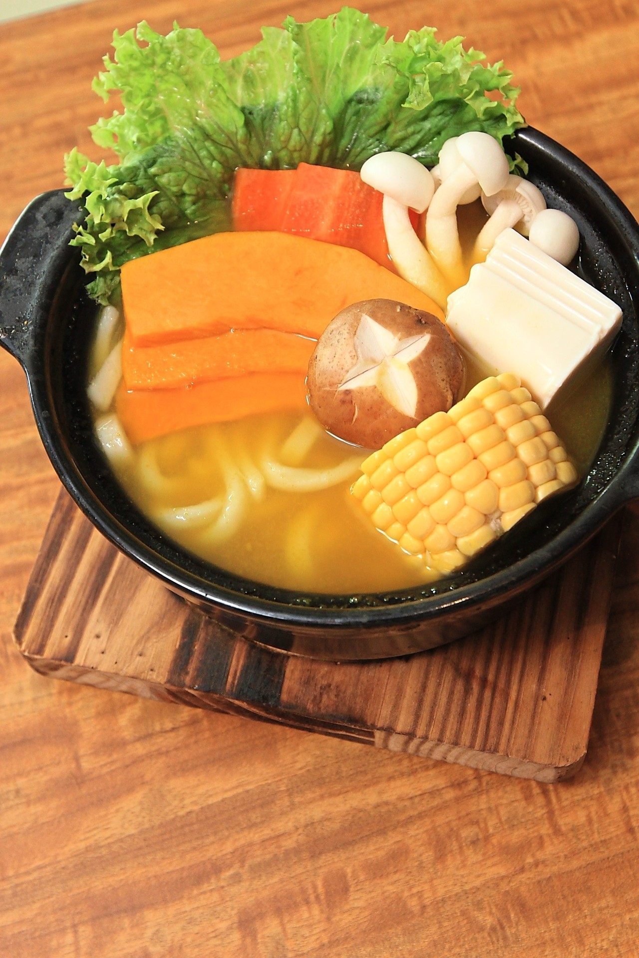 Healthy Pumpkin Udon from the set lunch and dinner menu. The udon can be replaced with ramen, soba or rice.