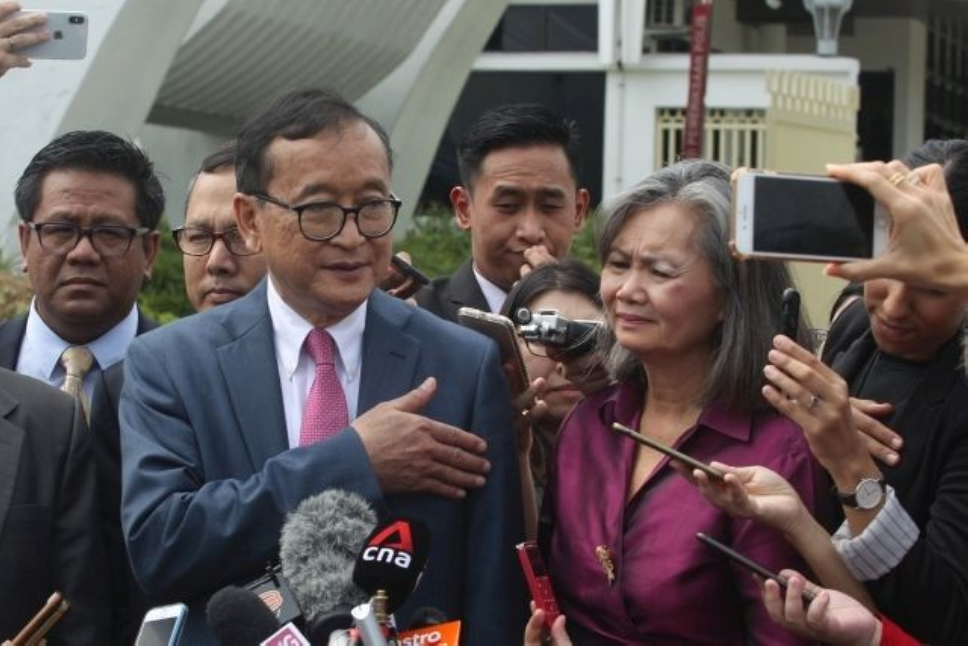 Cambodian National Rescue Party president Sam Rainsy and party vice president Mu Sochua speak to reporters after their visit to Parliament on Nov 12, 2019. - KAMARUL ARIFFIN/The Star