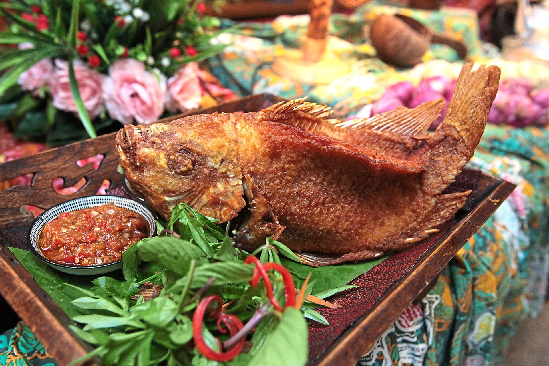 The aptly named ikan wayang features a whole, perfectly fried fish, served with two different kinds of homemade sambal.