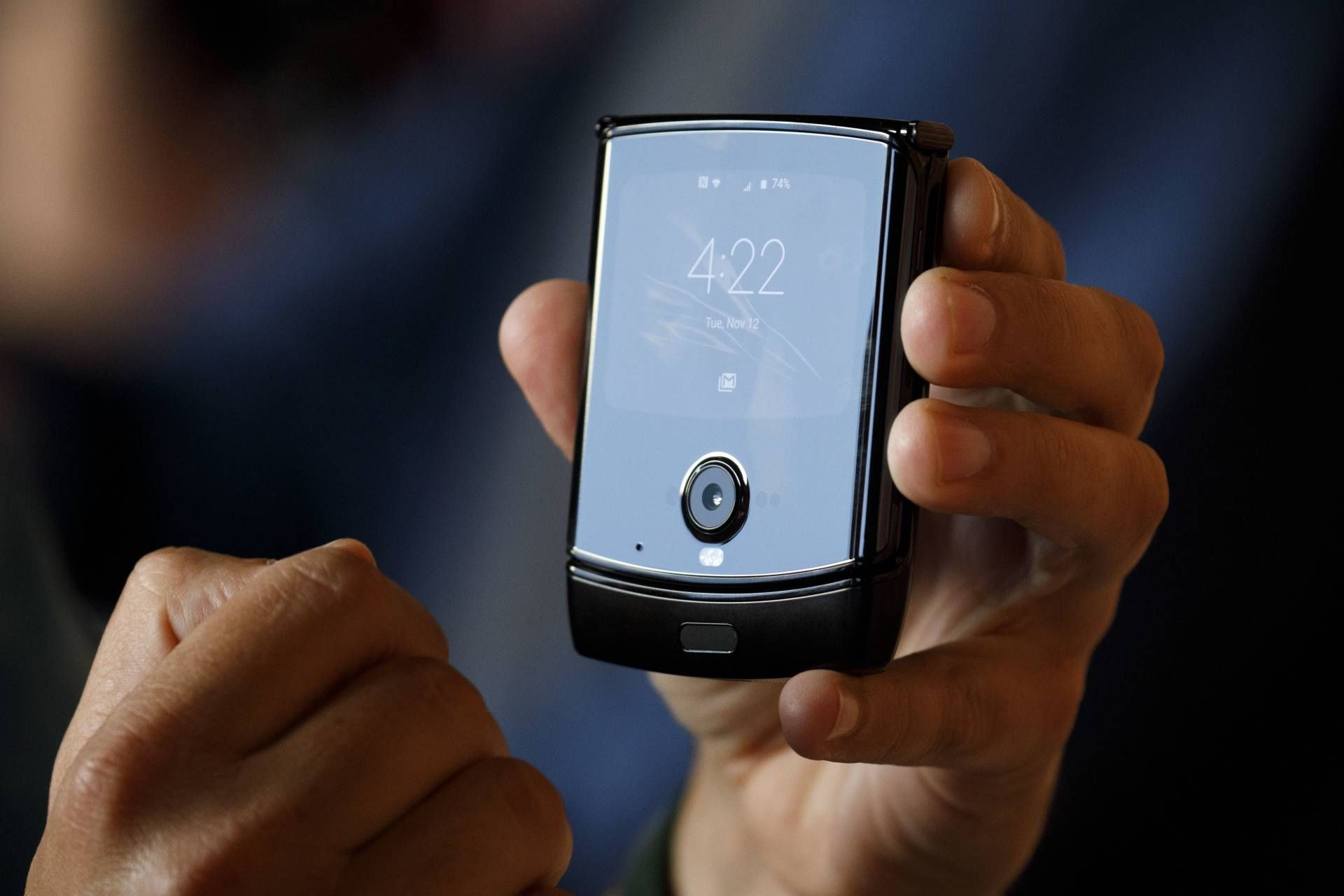 The external touchscreen allows users to access commonly used functions, like answering calls and replying texts. — Bloomberg