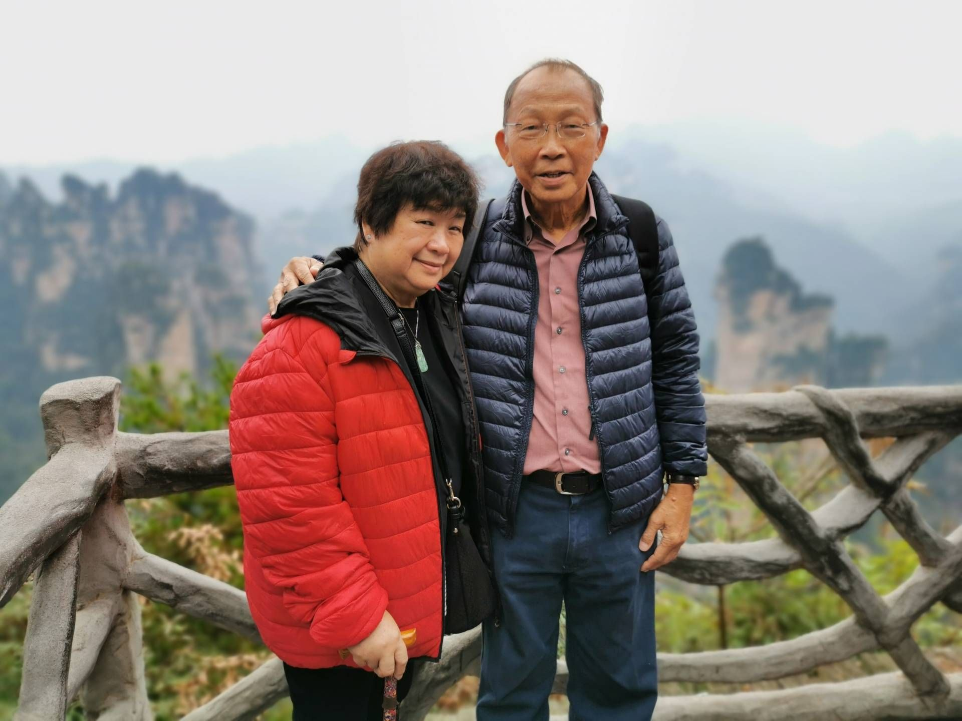 Cancer survivor Wong and his wife, Chen Ooi Khoon, on a recent holiday at Zhangjiajie National Park in Hunan, China.