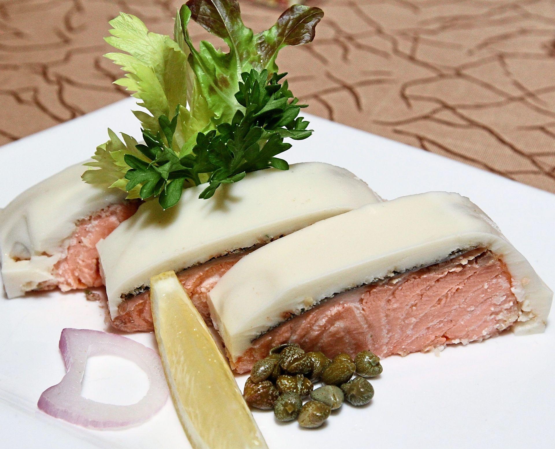 Poached Salmon with Lemon Honey Mayonnaise.