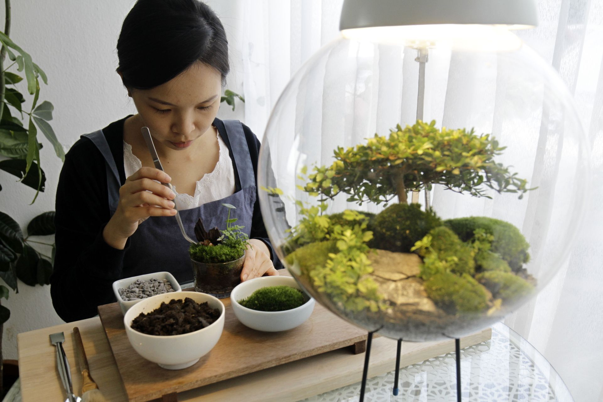 Saw Yee Hui decorating a terrarium as she fills the pebbles and moss layered 'mini rain forest' with readily prepared planting medium at the gallery in Lebuh Farquhar, Penang. CHAN BOON KAI / The Star