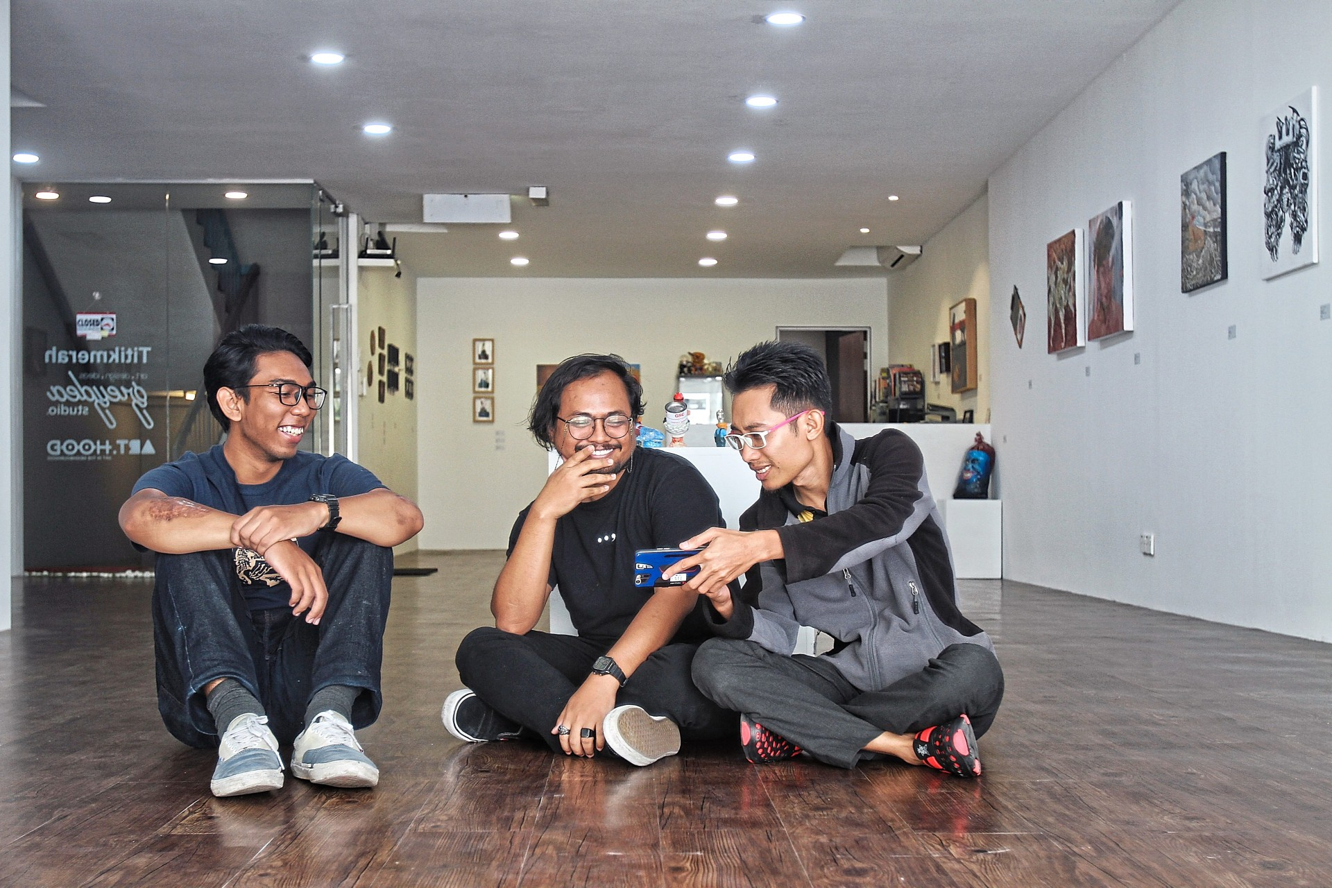 (from left) Ammar Idris, Arifin Amin and Baba Wong are some of the featured young and emerging artists in Kisah. Photo: The Star/ Sam Tham