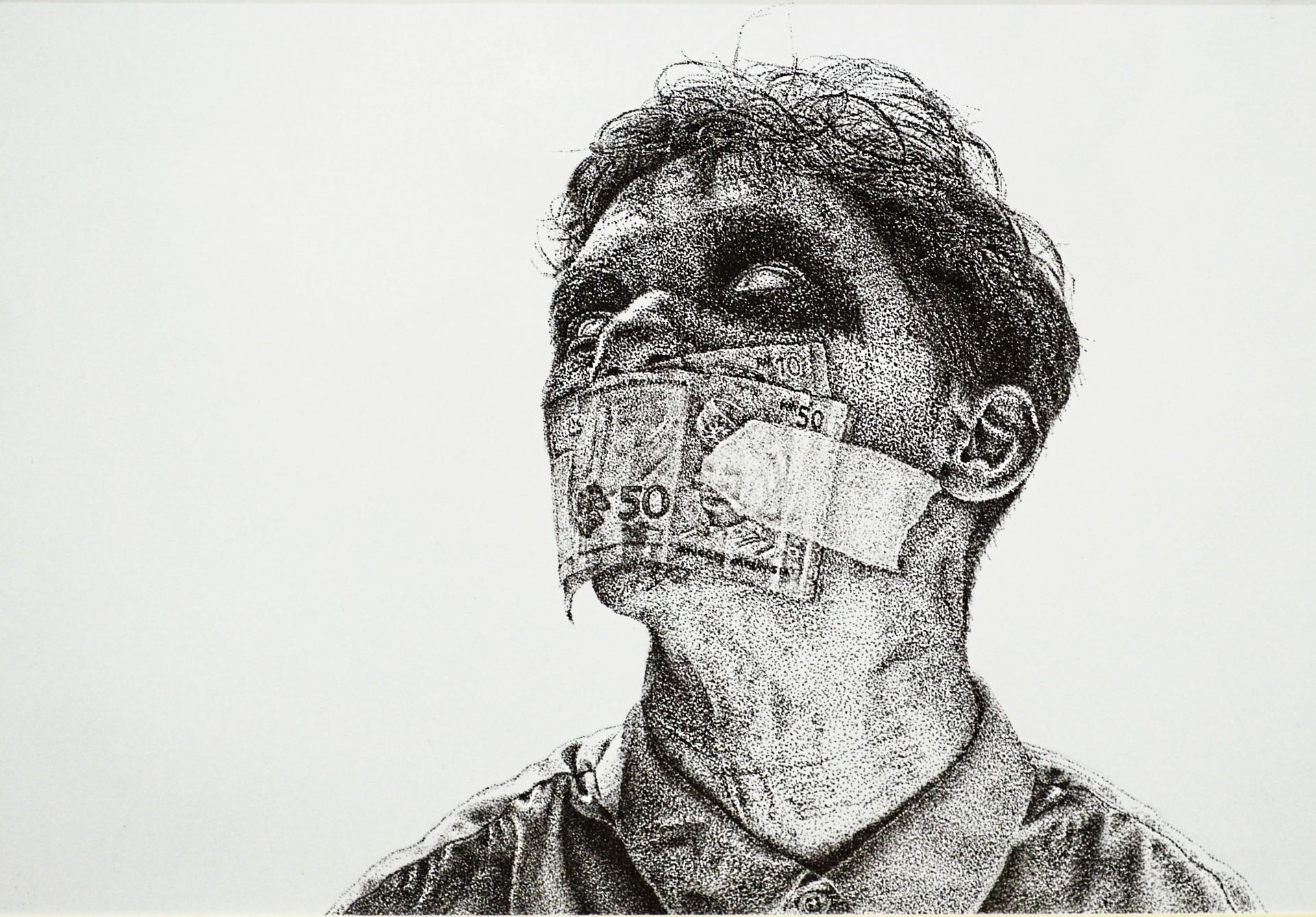 Zahran's Profanity (ink on paper, 2019). Photo: TitikMerah Collective
