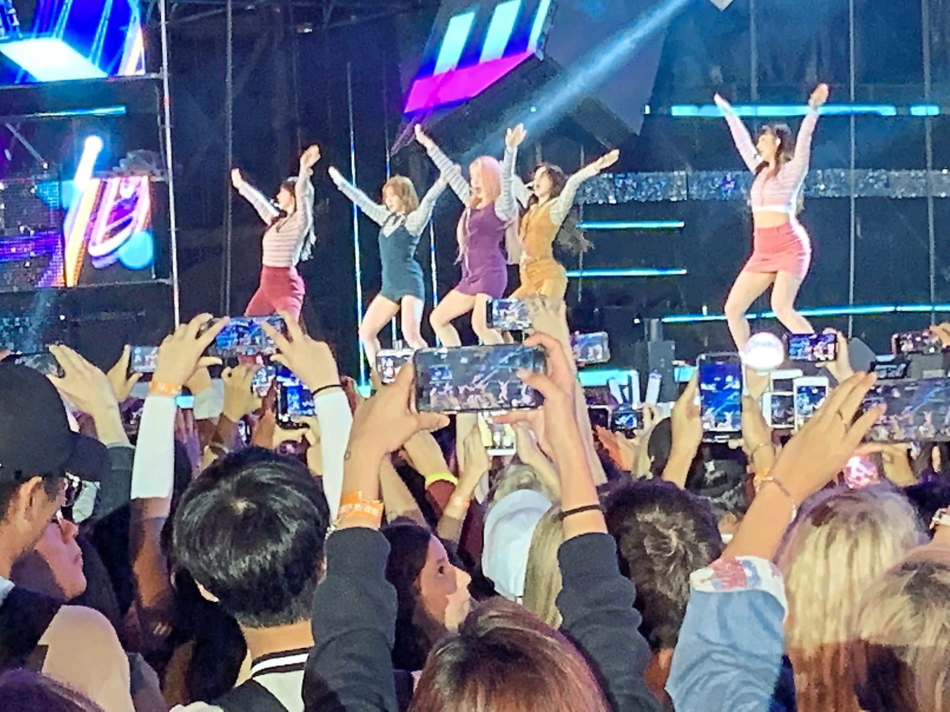 K-pop girlgroup Red Velvet perform at the KBS Music Bank live show.
