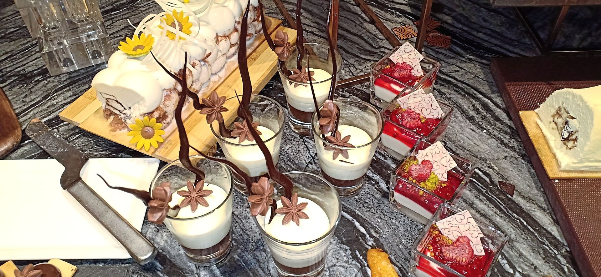 Feast boasts a wide selection of sweet offerings comprising cakes, pies and cookies.