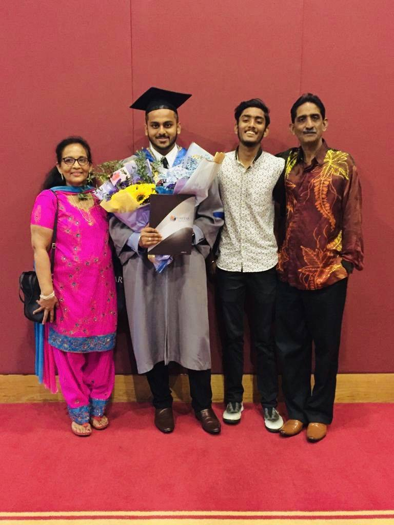 Rahul Thomas and his family, who he credits for helping him achieve his dreams.
