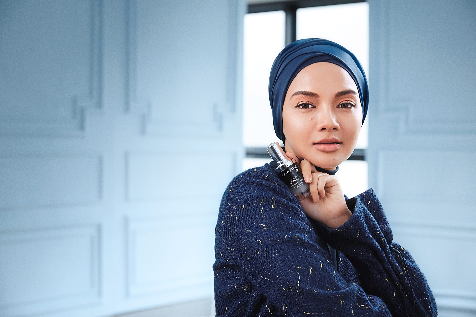Neelofa is the first celebrity donning a scarf to be signed on as the face for Lancome. — Lancome