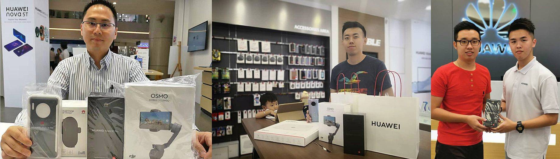 Proud customers with their Huawei products