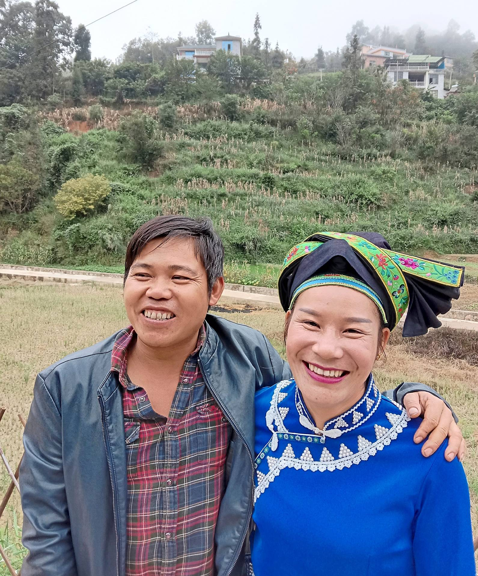 Long Kaijia, 38, a former construction worker seen here with his wife Loo Tze Yue, says mushroom farming in Nanyou, a village in Malipo county, has enabled him to educate his two daughters  and own a bungalow.