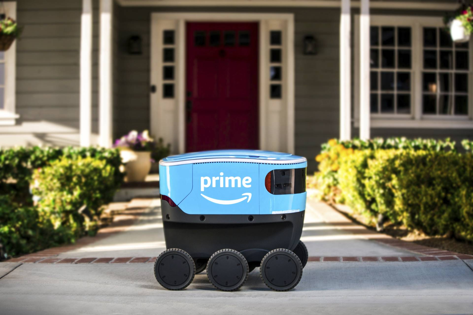 A self-driving delivery robot that Amazon is calling Scout. The online shopping giant says it started to test self-driving robots in Snohomish County, Washington on Jan 23, 2019, that can bring Amazon packages to shoppers' doorsteps. — Amazon/AP