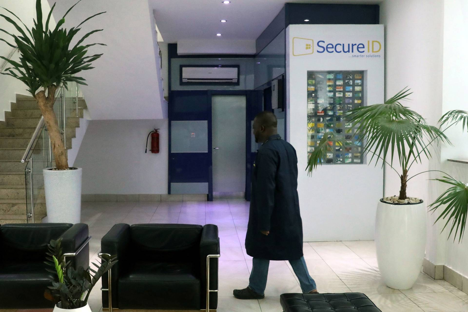 An employee at the reception of the Secure ID Limited office in Lagos, Nigeria.