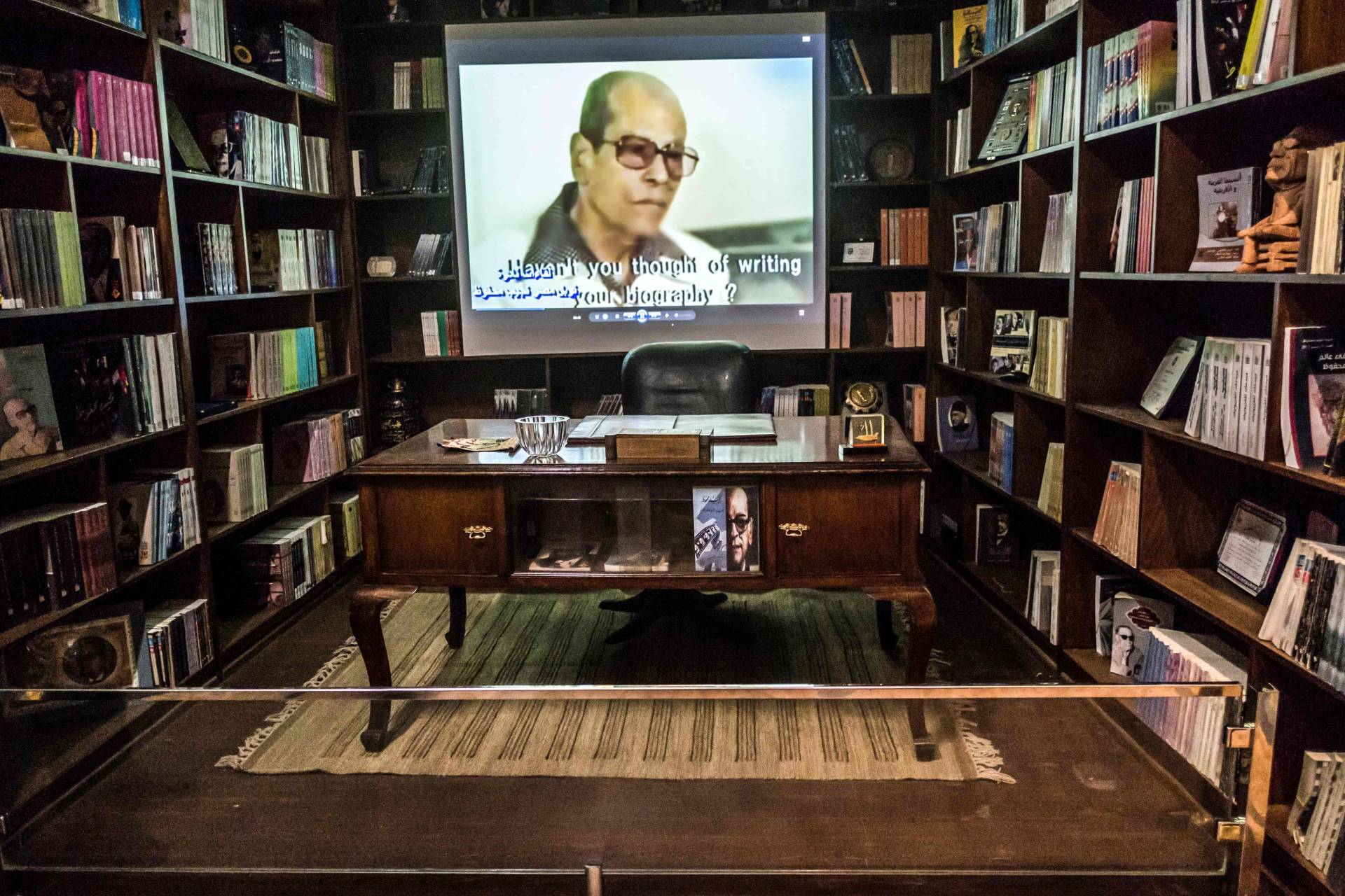 The desk of Egyptian novelist and nobel prize winner Naguib Mahfouz displayed at his museum at al-Azhar district in the heart of the capital Cairo. Photo: AFP