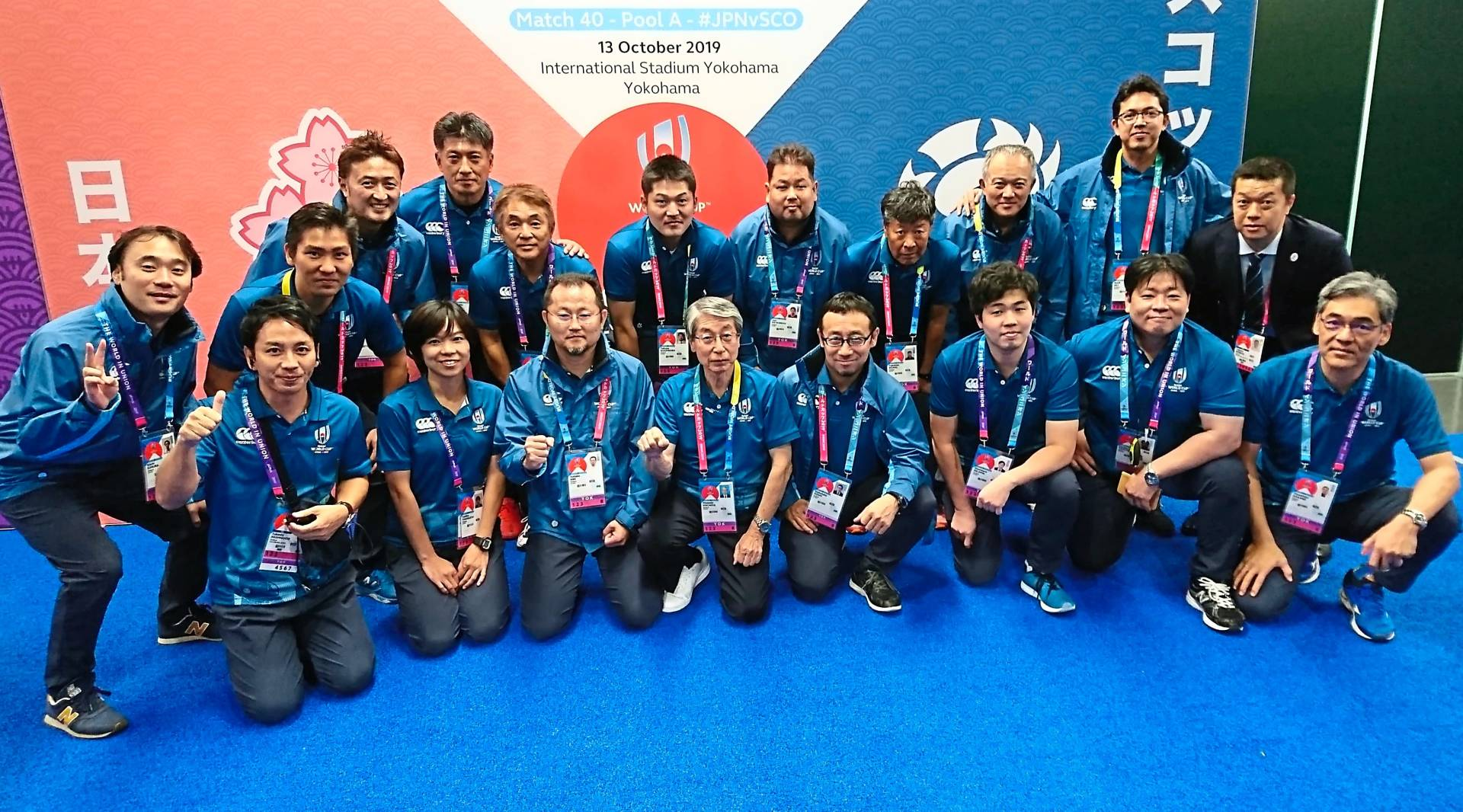 A photo of the Match Day Medical Team for the Japan-Scotland match, including Dr Azril (top row, second from right), the Match Day Doctor for the game.
