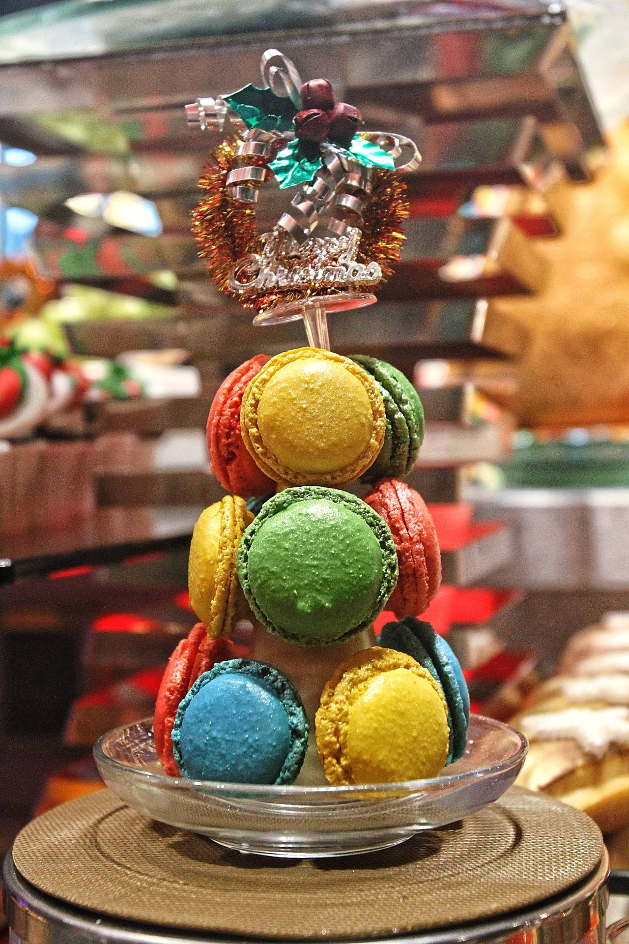 A tower of macaroons is a great way to end the meal.