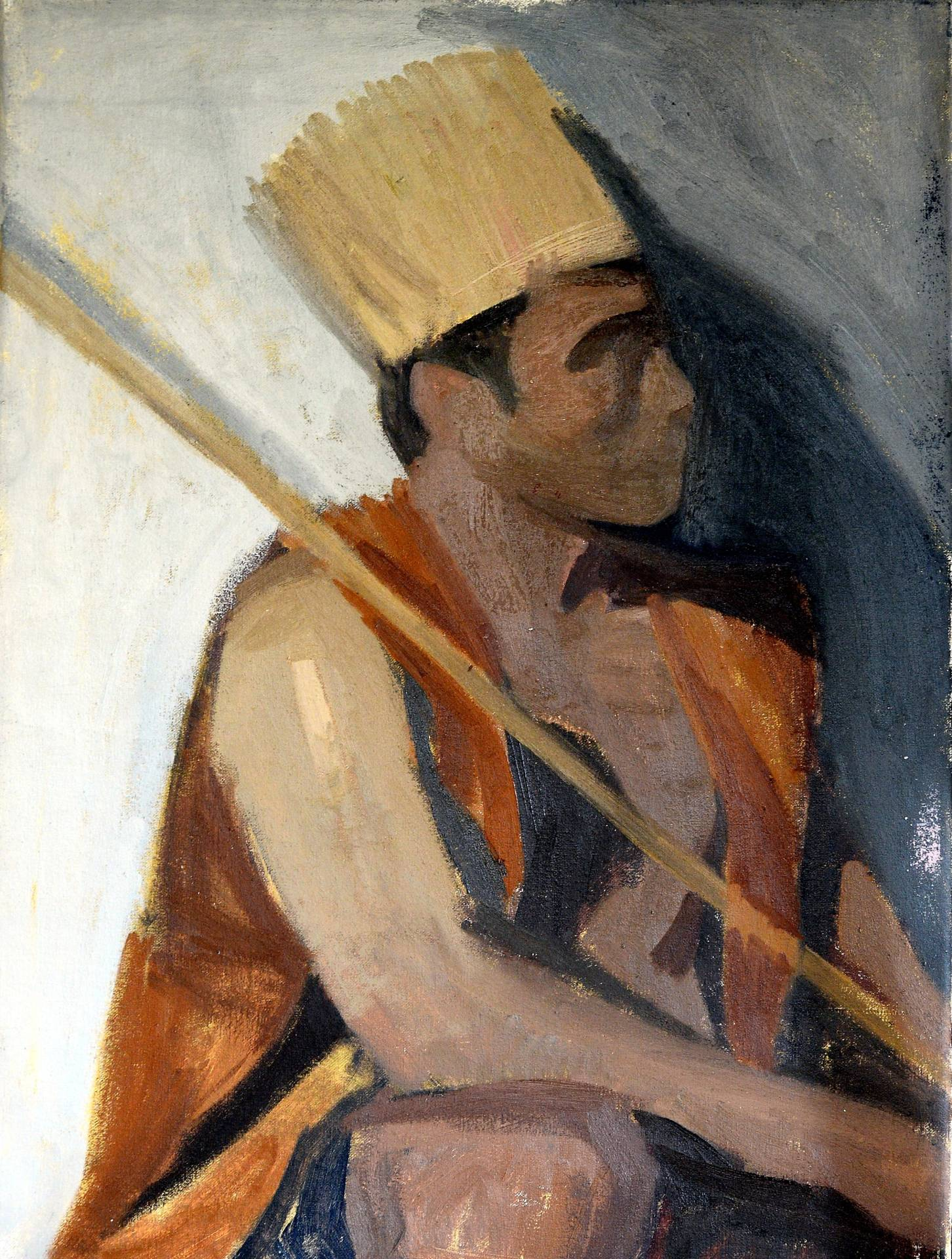 Ritom's 'Temiar Lawan' (oil on canvas), his portrait of Temuan artist Shaq Koyok.