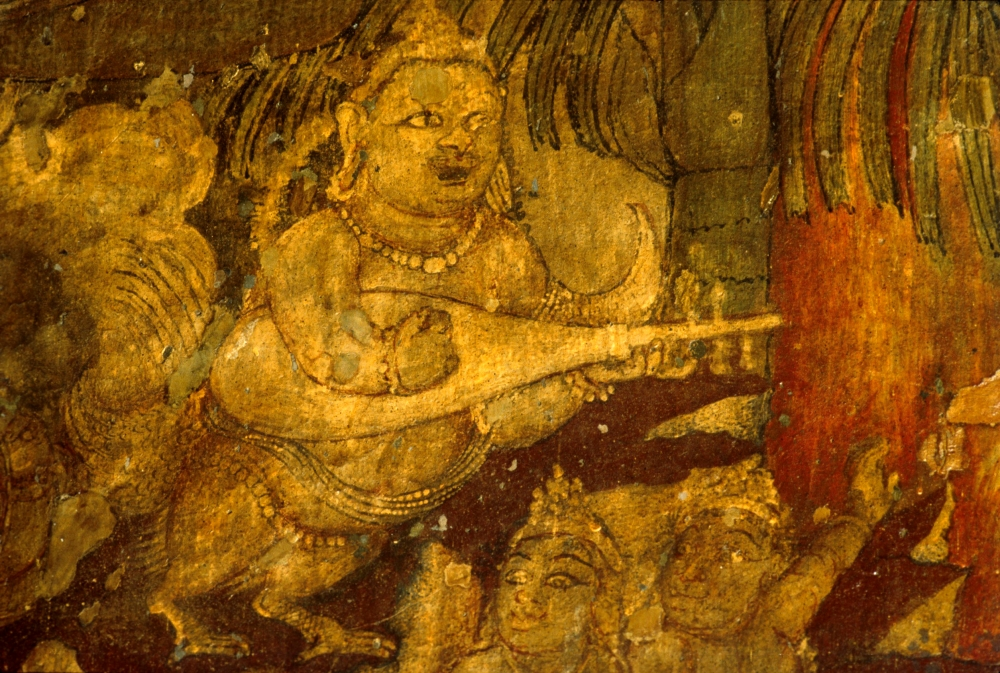 Kinnara in Cave 1. A kinnara is a paradigmatic lover, a celestial musician, half-human and half-bird in Buddhist and Hindu mythology, who sings. - BENOY K BEHL