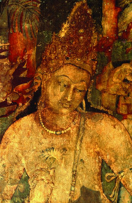 A wall painting of Bodhisattva Padmapani in Cave 1. Behl said this is one of the most graceful paintings in Ajanta.