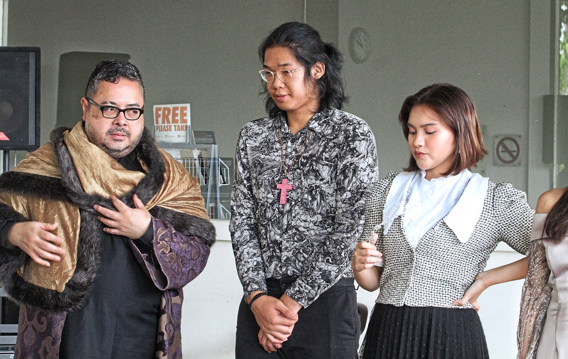 Reza Zainal Abidin (left), Axyr William and Mia Sara Shauki play Signor Chapuys, Chapuy's attendant and Lady Margaret More respectively in 'A Man For All Seasons'. Photo: Sam Tham/The Star
