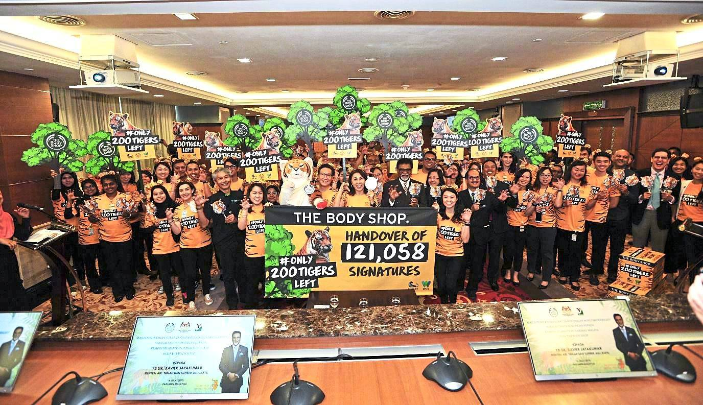 The Body Shop's #only200tigersleft petition received 121,058 signatures which were handed to the Minister of Water, Land and Resources, and resulted in police patrolling our forests to protect the Malayan tigers and detaining poachers. - The Body Shop Malaysia