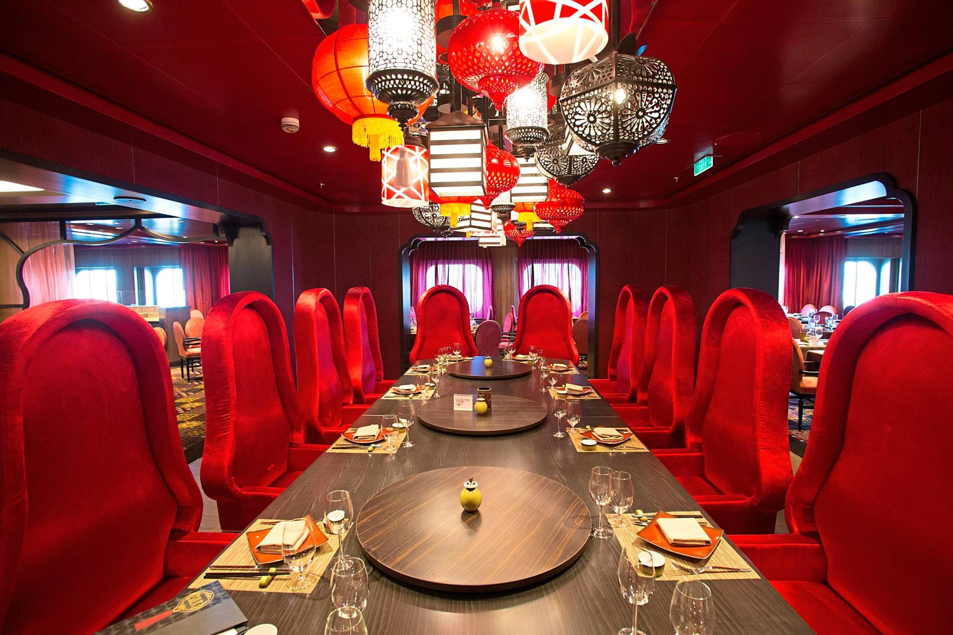 Silk Restaurant offers Asian cuisine, including Chinese, Japanese, Thai, Vietnamese and Indian meals, in an opulent setting. Photo: Royal Caribbean International