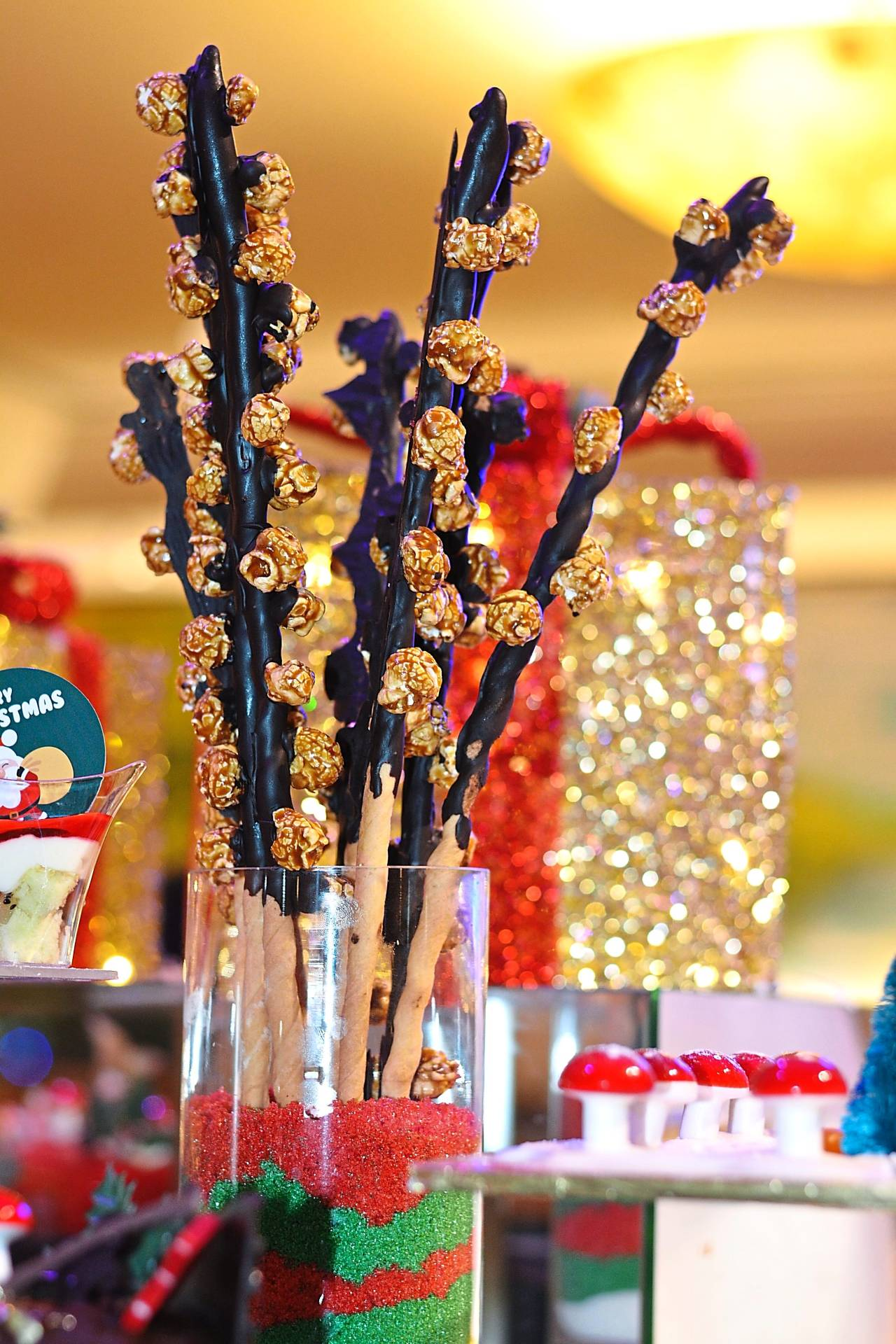 Popcorn is elevated to complement chocolate on a stick at the Christmas Eve buffet dinner at Dondang Sayang Coffee House.