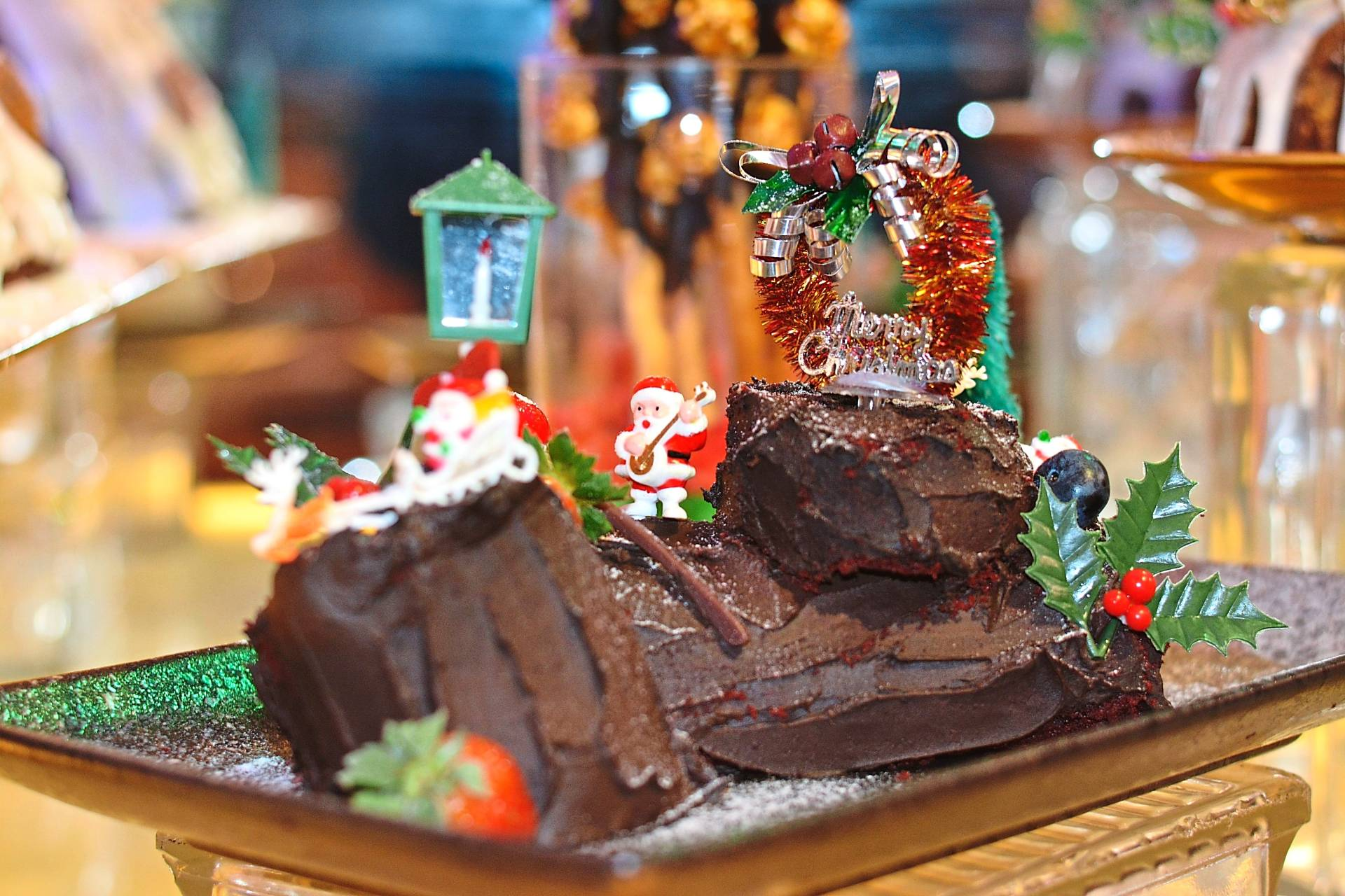 The chocolate yule log will tempt diners at the Christmas Eve buffet dinner.
