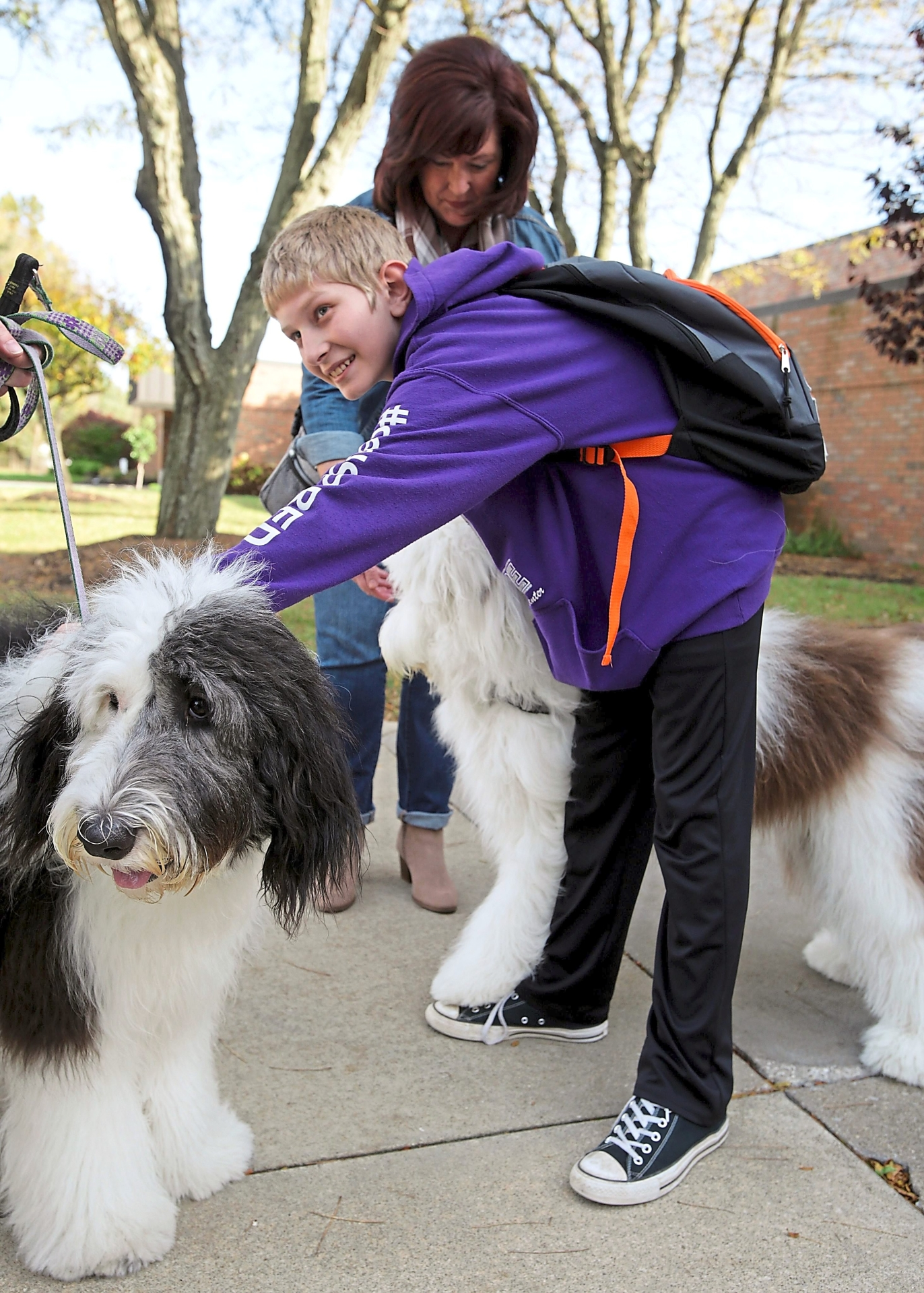 A sixth grader at Pfeiffer Intermediate School pets therapy dogs-in-training Charlie Brown and Harley Grace outside the school.
