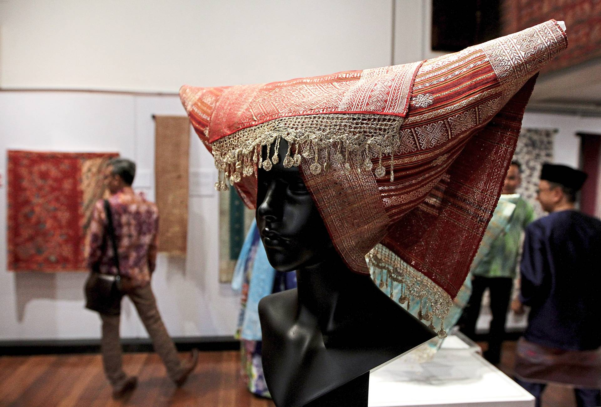Songket minang shawl with gold thread, a highlight of the exhibition. Photo: Yap Chee Hong/The Star