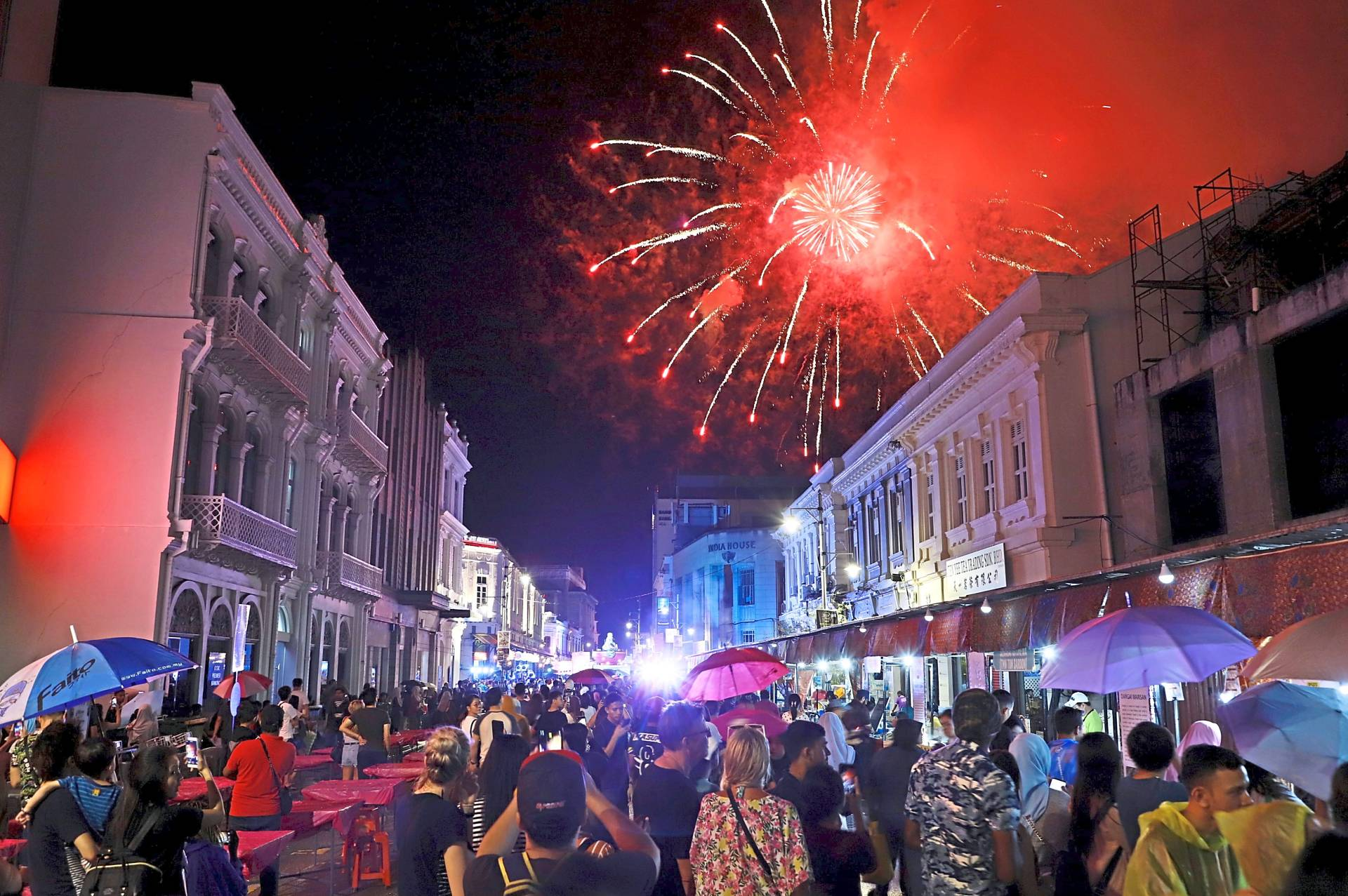 A fireworks display lighting up the sky above the Penang Street Food Festival 2019 at Beach Street.