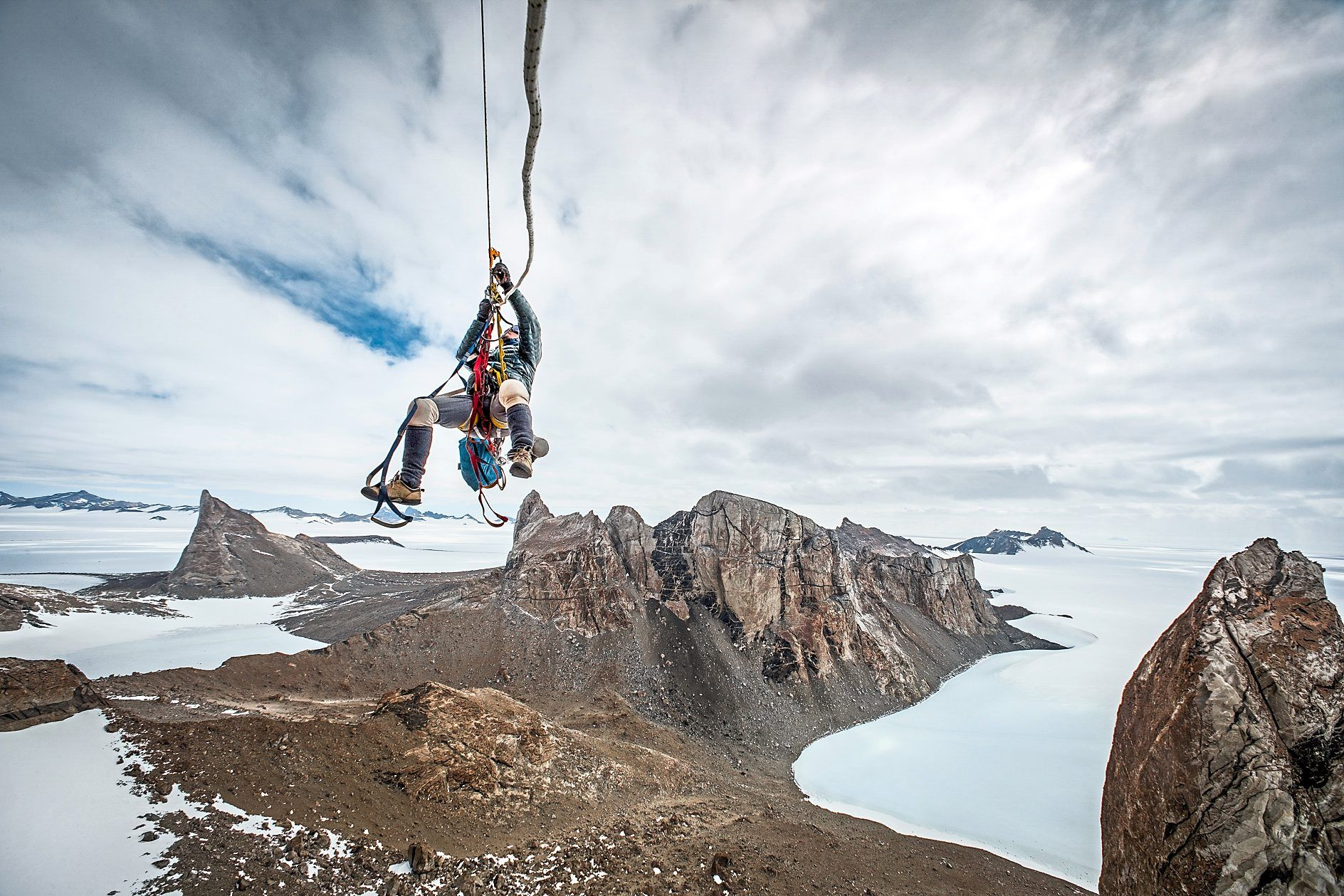 A climber ascending a fixed rope on a first ascent of Bertha's Tower in Antarctica. Photo: Cory Richards
