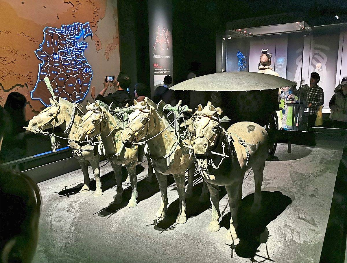 Masterpiece: A replica of one of the two bronze chariots at Shaanxi History Museum in Xi'an.