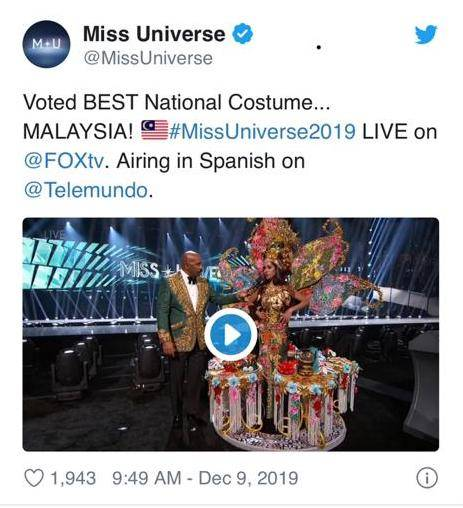The earlier tweet by the Miss Universe official Twitter account, announcing Miss Malaysia Shweta Sekhon as the winner. The tweet has since been deleted.