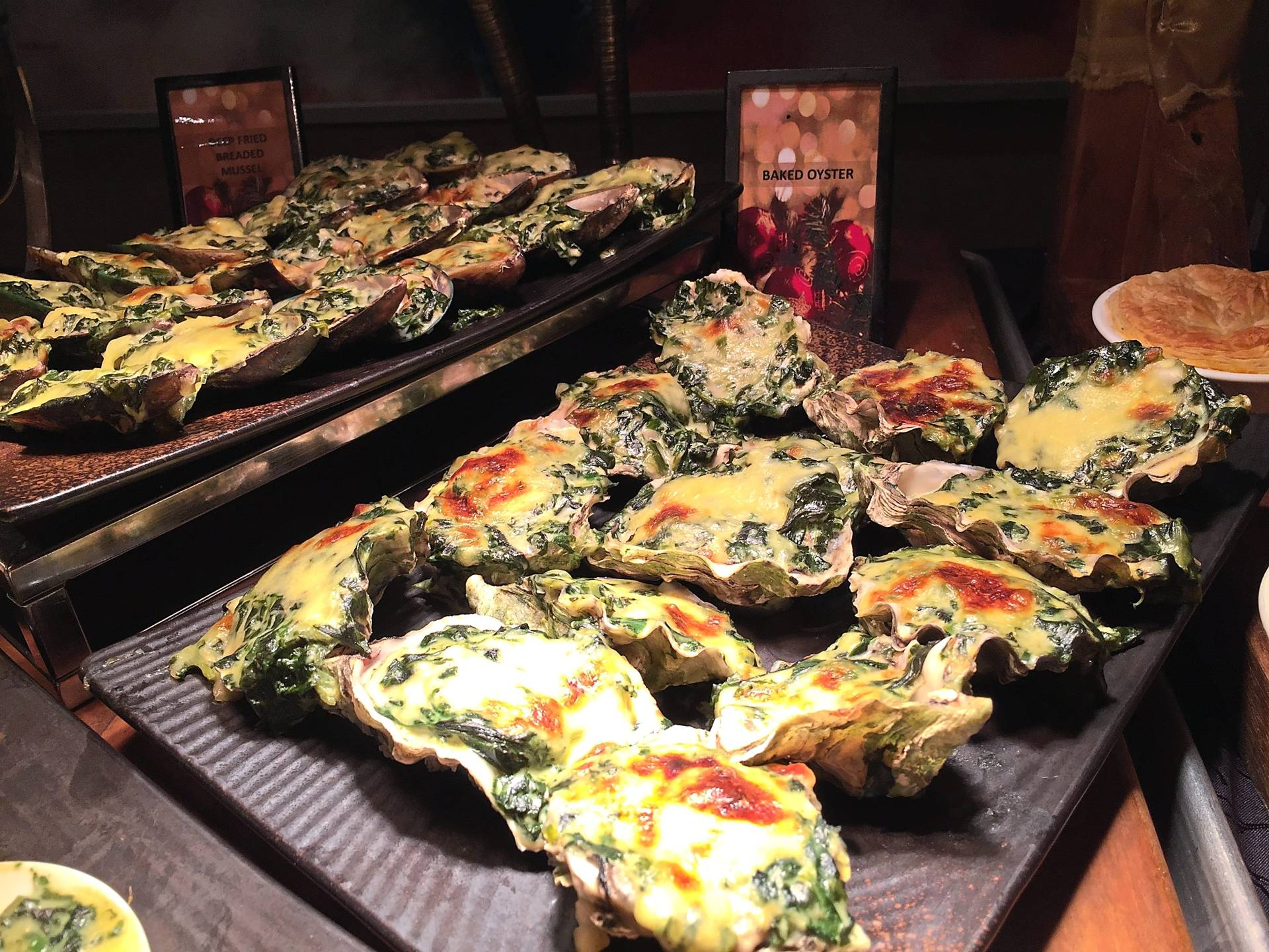 A wide range of gratinated seafood such as prawns, lobsters, oysters and mussels are among the Christmas highlights.