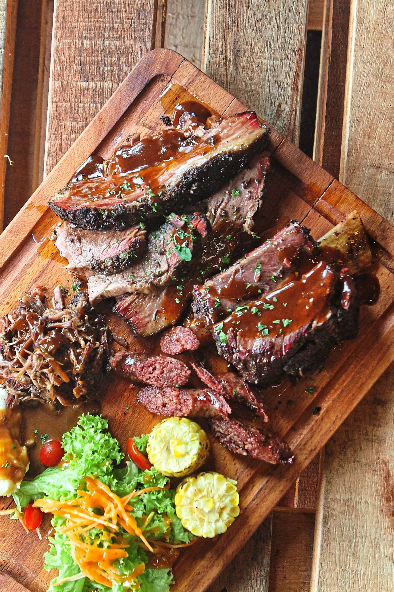 The BBQ meat platter offers smoky carnivorous options aplenty.
