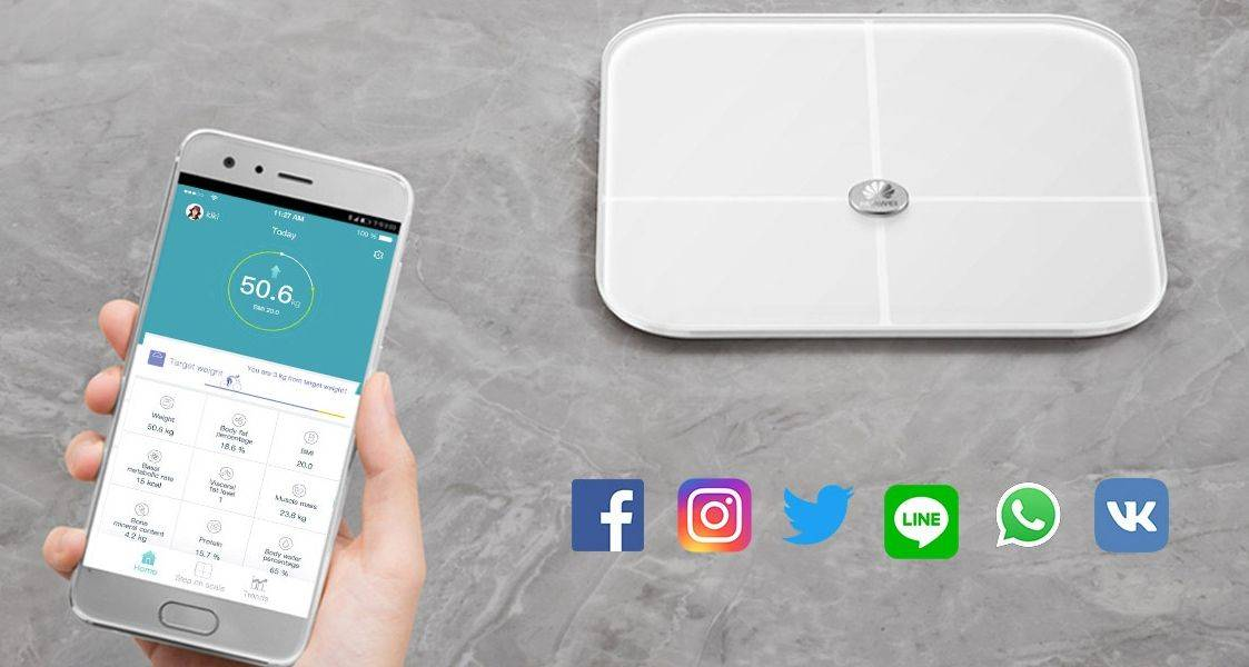 Share your health stats online as a form of personal achievement with the full profile Huawei Smart Scale.