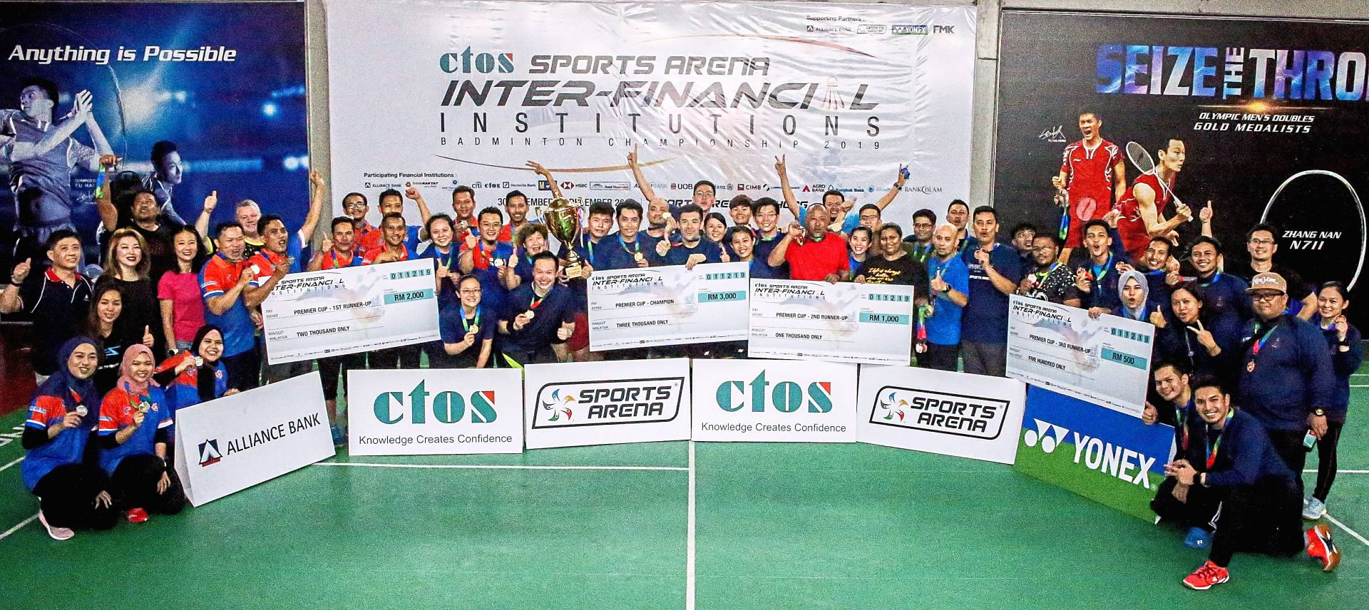 Participants from Alliance Bank Malaysia Bhd, Bank Kerjasama Rakyat Malaysia Bhd, CIMB Bank Bhd, Bank Pertanian Malaysia Bhd (Agrobank), Bank Negara Malaysia and Bank Muamalat Malaysia Bhd at the Inter-Financial Institutions Badminton Championship 2019 hosted by CTOS Data Systems Sdn Bhd at Sports Arena Puchong. — Photos: SS KANESAN/The Star